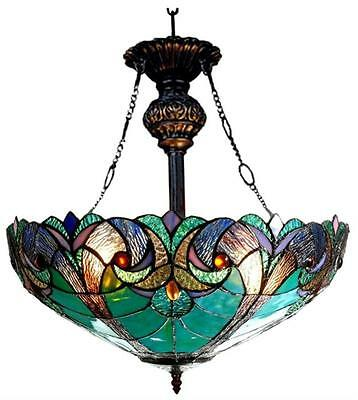 """Stained Glass Chloe Lighting Victorian 2 Light Inverted Pendant Fixture 18"""" Wide"""