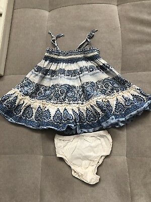 Gap Baby Girls Blue White Dress Size 0-3 Month With Flowers Light Cotton Summer