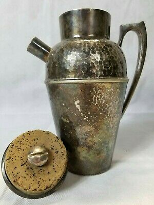 Antique Vintage Derby S.P. Co. Silverplate Cocktail Shaker Pitcher Hand Beaten