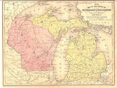 1852 hand-colored map of Wisconsin & Michigan from Mitchell Atlas