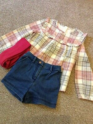 marks and spencer age 5/6 denim shorts, shirt and tights set. never worn
