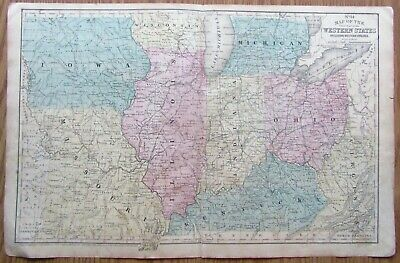 1852 large hand-colored map of Western States from Mitchell Atlas,  Iowa to Ohio