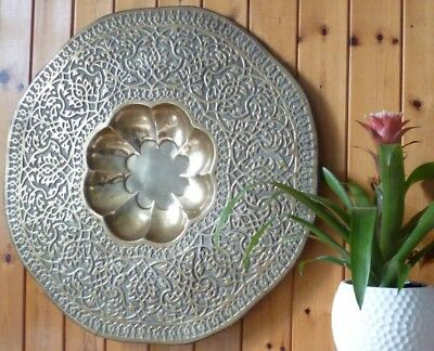 Antique Middle East Islamic Handmade & Patterned 63cm Large Brass Tray