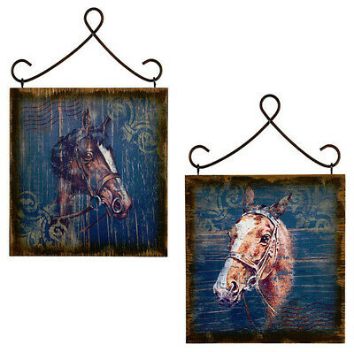 2pc Set Postmarked Rustic Horse Equestrian Wall Plaques FARMHOUSE COUNTRY DECOR
