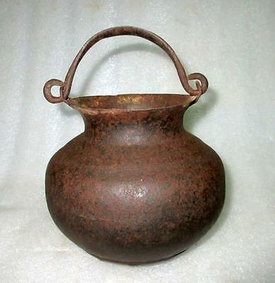 Antique 1850's Old Hand Carved Indian Home Used Iron Milk,Oil Water Hanging Pot