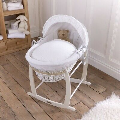 Clair de Lune White Wicker Moses Basket (Waffle White) Including Stand