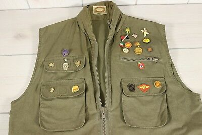 Vtg Banana Republic Mens L Safari Photographer Cargo Vest OD Green Marines Pins