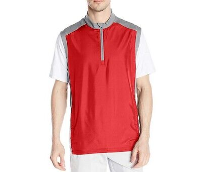 bff95a2d689a1 ADIDAS Adiclub Wind Golf Vest Mens Size Medium Red   Gray NEW Water  Resistant