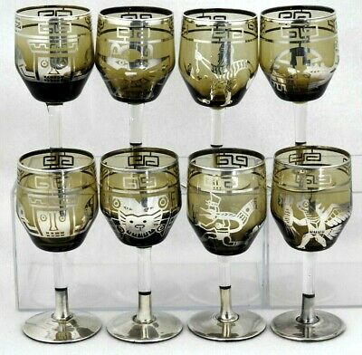 Vintage Sterling Silver Overlay WINE SHOT CORDIAL Glasses Set of 8 AZTEC Design