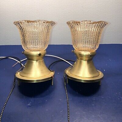 Wired Pair Antique Flush Mount Fixtures Raw Brass Patina Amber Shades 57E