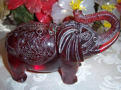 Vintage Chinese Carved Red Amber Elephant Figurine Figure Statue