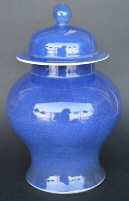 Nice Chinese Powder Blue Porcelain Vase With Lid 19Th Century Qing Period