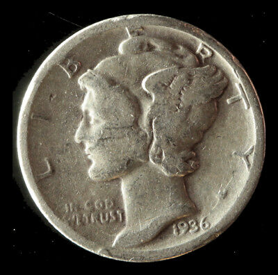 1936-P Mercury 90% Silver Dime Ships Free. Buy 5 for $2 off