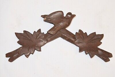 "Vintage Wooden Leaves Birds Cuckoo Clock Parts Top Topper Trim 6"" .. AS IS .."