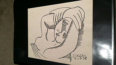 Pablo Picasso Original Oil Drawing Painting. Signed. W/ Old Gallery Watermark