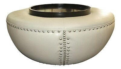 1625-101 Orbit Leather Cocktail Ottoman Hassock w Tray Top Attributed to Kravet