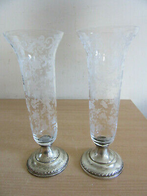 Pr Sheffield Co Sterling Weighted base Cambridge etched glass trumpet vases 8.5""