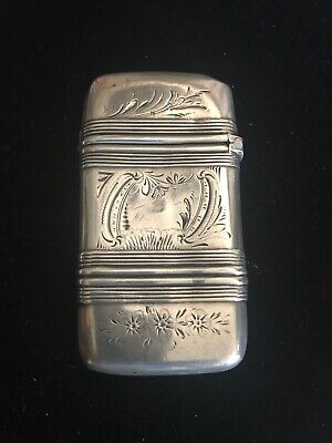 Antique Gorham Sterling Silver Match Safe Etched Floral Decoration