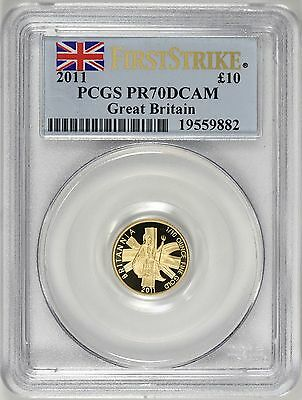 Great Britain 2011 Gold 10 Pounds First Strike PCGS Proof 70 DCAM AGW = 0.10 oz