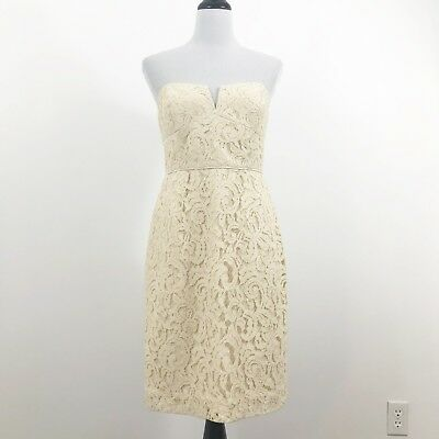 a473536f246 J CREW Cathleen Dress Leavers Lace Size 10 Champagne 02846 Strapless  Bridesmaid