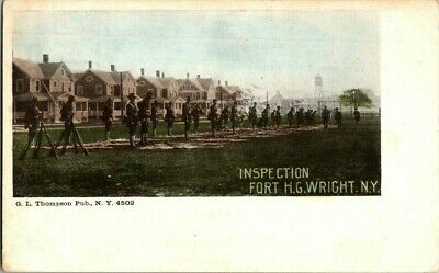 1918. FORT H.G. WRIGHT, NY. INSPECTION. U.S. ARMY  POSTCARD q4