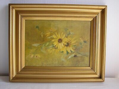 Antique oil on canvas painting - still life with flowers signed MR framed c1900