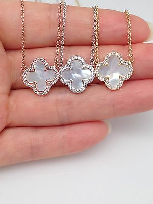 Sterling Silver 925 Cz Mother Of Pearl Four Leaf Clover Pendant Necklace 14mm