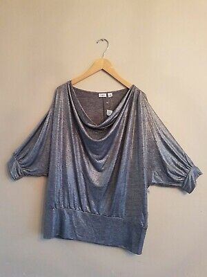 NWT CATO Plus Sportswear Women's Silver 3/4 Sleeve Blouse Top Shirt X-Large