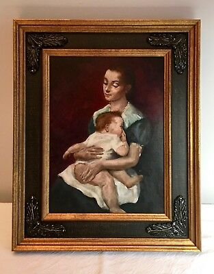 Vintage 1935 Oil Painting Portrait of Mother and Child by Xavier Barile