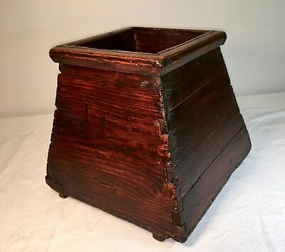 Antique Asian Rice Bucket - Hand Made Wood