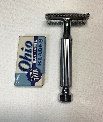 Vintage Safety Razor - RARE 1930's Sweedo Chrome DE Open Comb