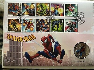 Royal Mail 2019 Marvel Comics Stamps Characters  Spider-man Coin First Day Cover