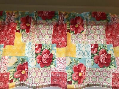 "Pioneer Woman Patchwork Kitchen Valance 60"" W x 14"" L Window Curtain Homemade"
