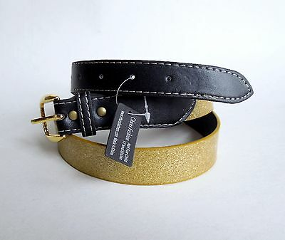 Womens Fashion Belt Gold Sparkle & Brown Size Large New With Tag Free USA Ship