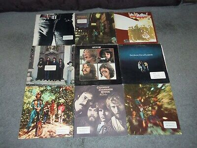 Lot of 9 Classic Rock Vinyl LP Albums: Led Zep-Stones-CCR-Bowie-Beatles-Doors