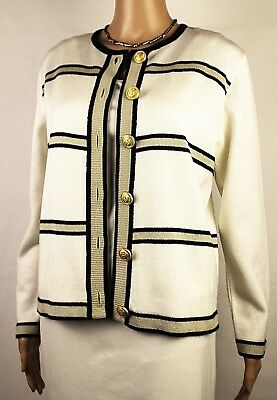 TALBOTS Vintage Cardigan Sweater Jacket Blazer Ivory Sz 4 Scoop Neck Made in USA