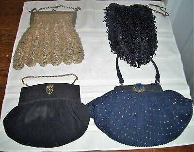 Lot of 6 Ladies Vintage Antique Evening Bags Beaded Chain Mesh Fabric