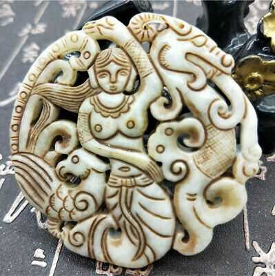 Chinese pure hand-carved curio old jade belle dragon phoenix brand pendant