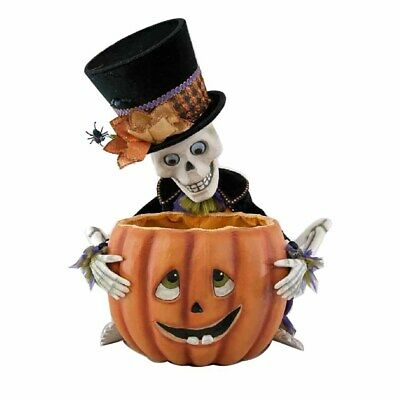 Katherines Pumpkin Patch Skeleton with Pumpkin Doll - 51cm