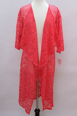 Large LuLaRoe Shirley Kimono Stretchy Floral Lace Solid Coral Red NWT sh105