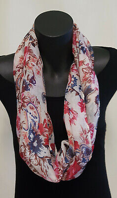 Ladies Fashion Loop scarf Cream Navy Red Paisley & flowers Infinity Snood Cowl
