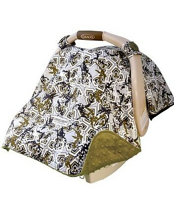 Hawkslee Infant Car Seat Canopy Cover Navy Blue, Moss Green, Gray And White