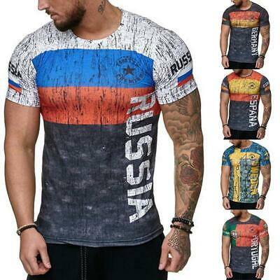 Men's Letter Russia Sweden Portugal Germany Print Gym Sports T-Shirt Slim Fit