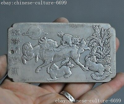 Marked old Chinese Tibetan silver beast tree auspicious Amulet periapt Pendant