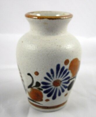 """Mexican Pottery Small Floral Vase Hand Painted Mexico Signed 4"""" Tall"""