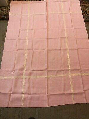"Vintage PINK Linen Tablecloth w/ Gold Trim GREEK KEY Design 70"" x 52-1/2"""