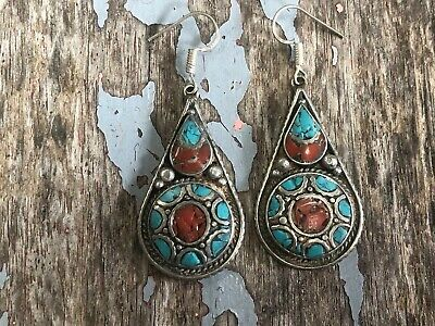 Nepalese Handmade Tibetan Ethnic Turquoise Coral White Metal Ear Ring Earring