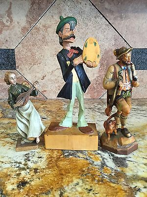 Vintage Cuckoo Clock Style Hand Painted Carved Wood Figure Steinbach German Folk