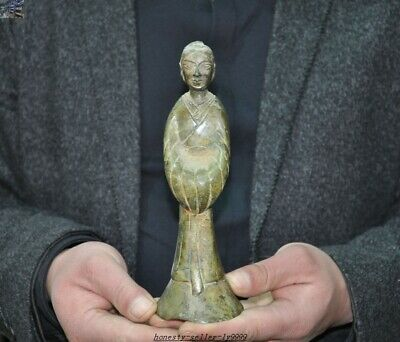Ancient Old Chinese dynasty Bronze Ware dynasty palace woman beauty maid statue