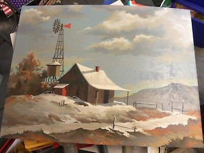 Vintage Paint By Number Old Homestead Cabin Windmill Snow Mountain Scene 24 x 18